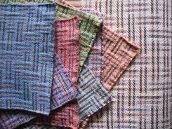 samples of 16 shaft handwoven Dye-Lishus® cotton dyed after weaving