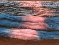 Dye-Lishus® cotton sliver and yarn dyed with saxon blue and lac natural dyes